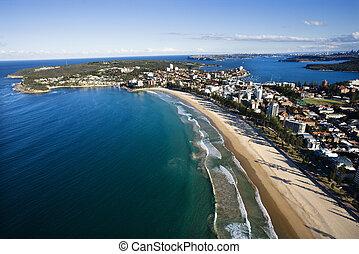 Aerial de propiedad frente a la playa.