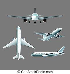 Aeroplano al frente y la vista superior vector aislado