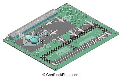 aeropuerto, concepto, isométrico