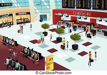 aeropuerto, dentro, escena