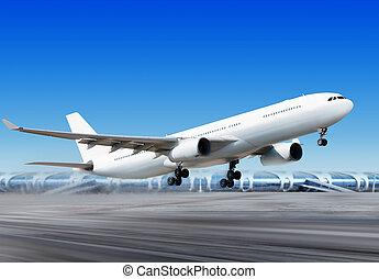 aeropuerto, flying-off, avión