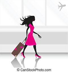 aeropuerto, mujer
