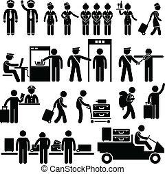 aeropuerto, trabajadores, seguridad