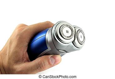 Afeitado eléctrico a mano aislado con antecedentes blancos