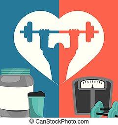Afiche de comida proteica de peso del gimnasio