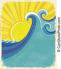 Afiche de olas marinas. Ilustración viscera del paisaje marino en la vieja textura de papel