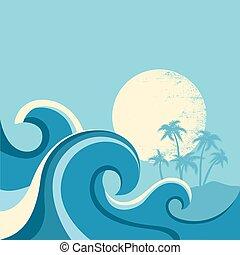 Afiche de paisajes marinos con olas marinas y sol. Ilustración azul vectorial