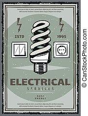 Afiche de servicio eléctrico vintage con bombilla