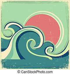 Afiche de vintage. El vector abstracto afiche de mar con olas marinas y sol en el viejo póster