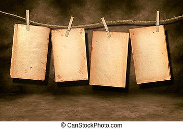 afligido, libro, páginas, usado, ahorcadura