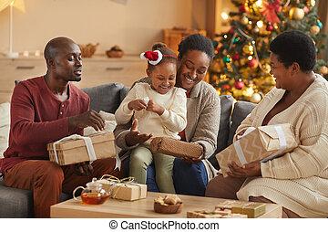african - american, celebrar, familia , feliz, juntos, navidad