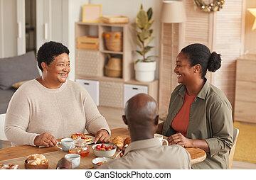 african - american, desayuno, familia , el gozar