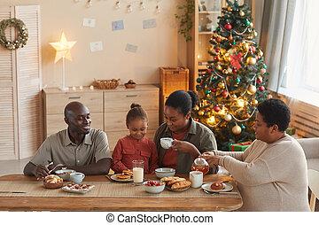 african - american, mañana de navidad, familia