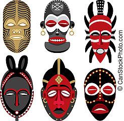 africano, 2, máscaras