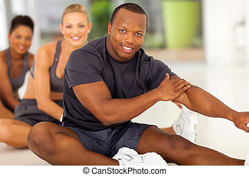 africano, extensión, equipo, hombre, ejercicio, antes