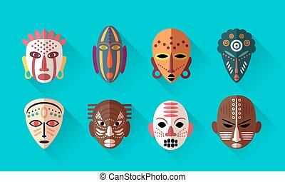 africano, máscara, iconos