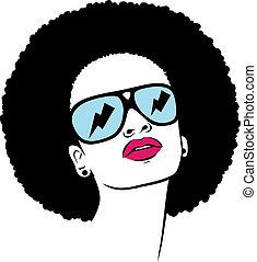 afro, mujer, gafas de sol