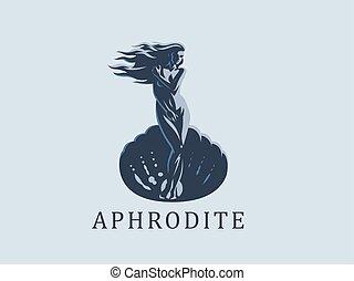 Afrodita o venus. El emblema del vector.