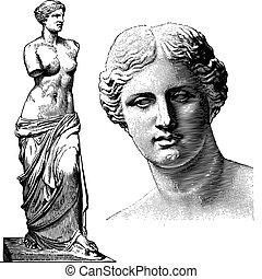 afrodita, vector, estatua