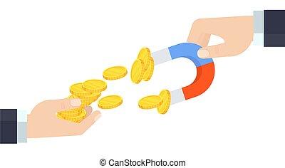 afuera, hombre de negocios, dinero, manos, tira, mano