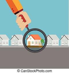Agente inmobiliario encontrando tu hogar soñado con un concepto de vector de lupa
