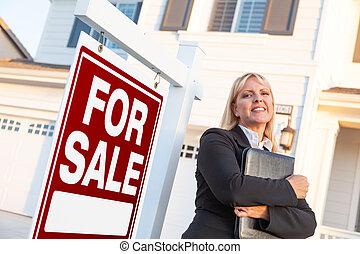 agente, propiedad, señal, hermoso, hembra, verdadero, frente, venta, casa