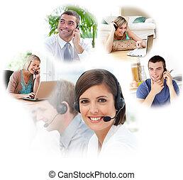 Agentes de servicio de clientes en un centro de llamadas
