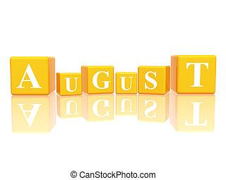 Agosto en cubos de 3d