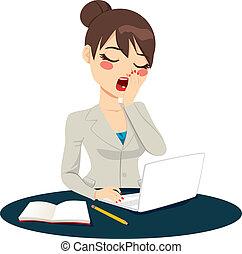agotado, mujer de negocios, bostezando