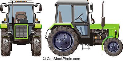 agrícola, vector, tractor