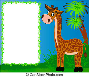 agradable, guardería infantil, plano de fondo, palmas, jirafa, marco