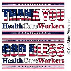 agradecer, atención sanitaria, contra, profesionales, esfuerzos, usted, su, pandemia, letras, covid-19