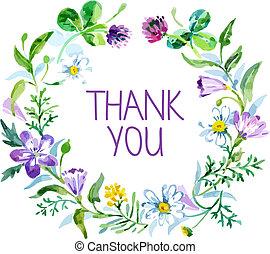 agradecer, bouquet., ilustración, acuarela, vector, floral, usted, tarjeta