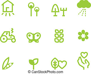 Agricultura  ⁇   ⁇  iconos agricultores establecidos aislados en blanco (Verde)