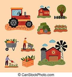 agricultura, iconos, conjunto, diez, granja, lío