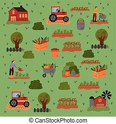 agricultura, iconos, patrón, conjunto, granja