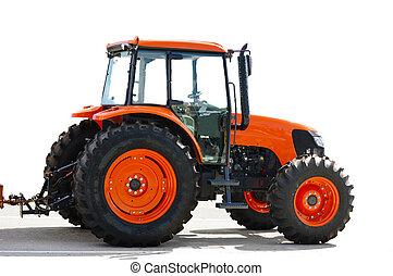 Agricultura tractor rojo en blanco