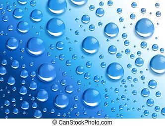 agua azul, gota, círculos, humedad