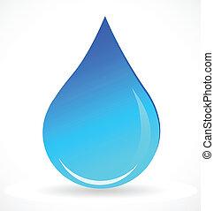 agua azul, gota, vector, logotipo