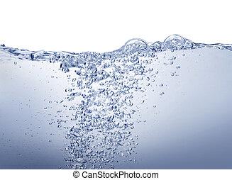 Agua azul limpia en blanco