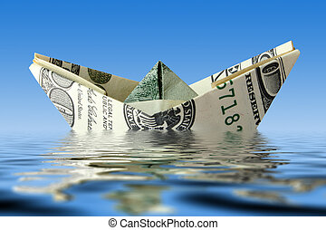 agua, barco, crisis., dinero