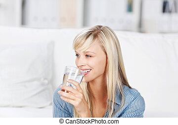 agua, bebida, mujer, mineral