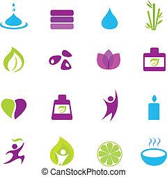 Agua, bienestar y zen iconos