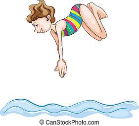 agua, buceo, niña