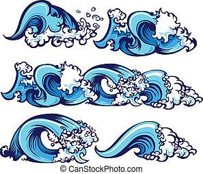 agua, chocar, ilustración, ondas