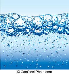 Agua con burbujas brillantes y espuma
