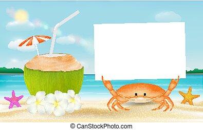 Agua de coco y cangrejo con papel en un fondo de playa
