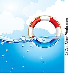 agua, encima, flotador