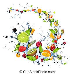 agua, fruits, salpicadura, fresco, plano de fondo, caer, aislado, blanco