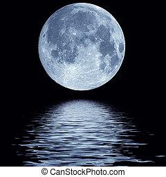 agua, lleno, encima, luna